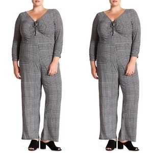 Planet Gold Patterned 3/4 Sleeve Ruched Jumpsuit